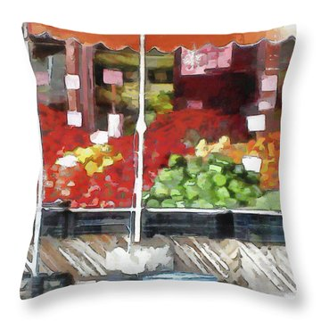 Corner Market Throw Pillow
