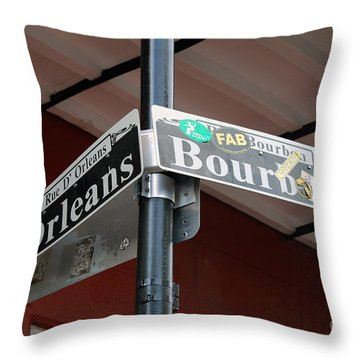 Corner Of Bourbon Street And Orleans Sign French Quarter New Orleans Throw Pillow by Shawn O'Brien