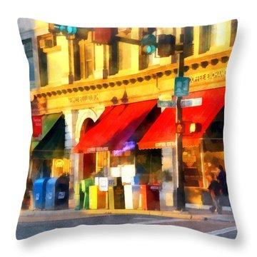 Corner Of Center And Merchant Rutland Vt Throw Pillow by Susan Savad