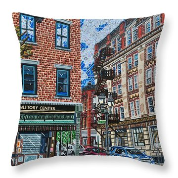 Corner Of Dietz And Main Oneonta Ny Throw Pillow by Micah Mullen