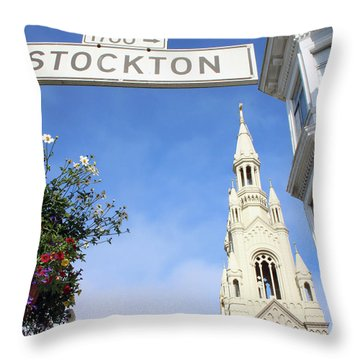 Corner Of Stockton-  By Linda Woods Throw Pillow