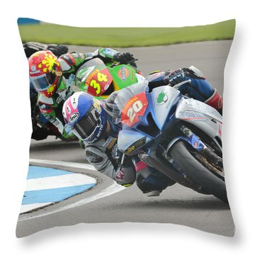 Cornering Motorcycle Racers Throw Pillow by Peter Hatter