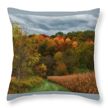 Cornfield In Fall  Throw Pillow