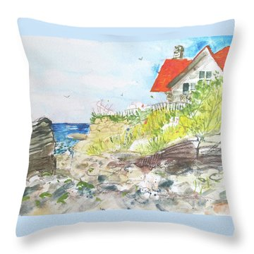 Throw Pillow featuring the painting Cornfield Point Old Saybrook by Gertrude Palmer