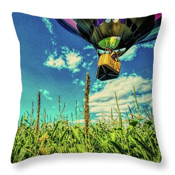 Cornfield View Hot Air Balloons Throw Pillow by Bob Orsillo
