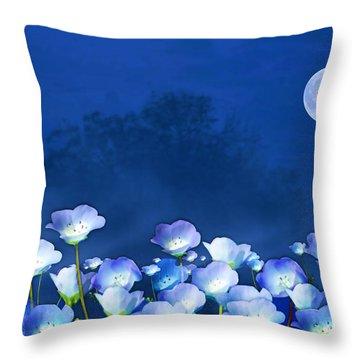 Cornflowers In The Moonlight Throw Pillow
