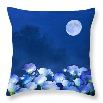 Cornflowers In The Moonlight Throw Pillow