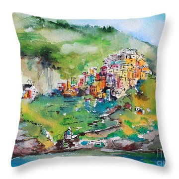 Throw Pillow featuring the painting Corniglia Cinque Terre Italy by Ginette Callaway