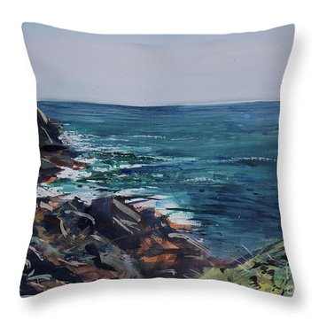 Cornish Clffs Throw Pillow by Genevieve Brown