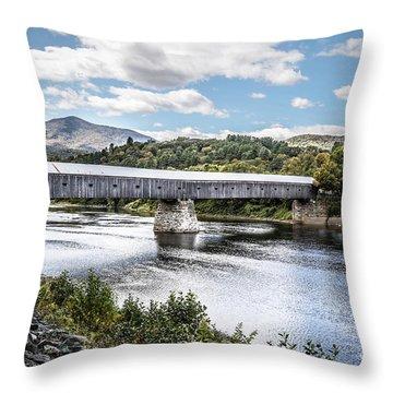 Cornish Windsor Covered Bridge Hdr 2 Throw Pillow