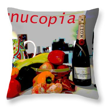 Throw Pillow featuring the mixed media Cornucopia by Charles Shoup