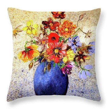 Cornucopia-still Life Painting By V.kelly Throw Pillow