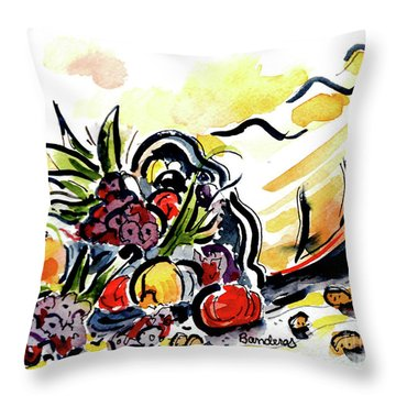 Throw Pillow featuring the painting Cornucopia by Terry Banderas