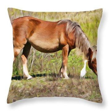 Corolla's Wild Horses Throw Pillow