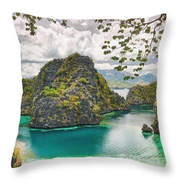Coron Lagoon Throw Pillow by MotHaiBaPhoto Prints