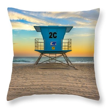 Coronado Beach Lifeguard Tower At Sunset Throw Pillow