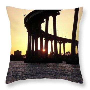 Coronado Bridge Sunset Throw Pillow by Carol  Bradley