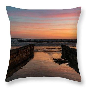 Coronado Pier Remains Sunset Throw Pillow