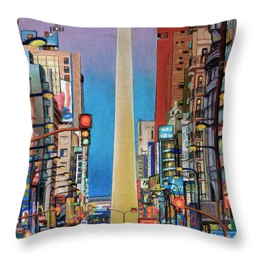 Corrientes Avenue Throw Pillow by Bernardo Galmarini