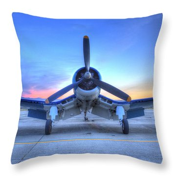 Corsair F4u At The Hollister Air Show Throw Pillow