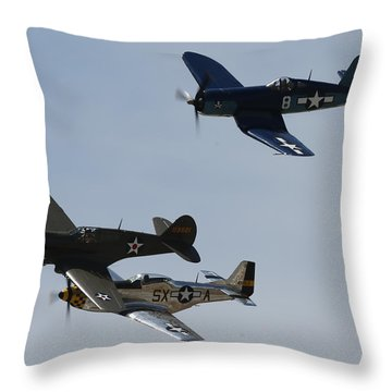 Corsair F4u P40 P51 Mustang Kimberly Kaye At The Hollister Air Show Throw Pillow