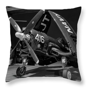 Corsair In The Hangar Throw Pillow