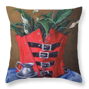 Corset And Calla Lily Throw Pillow