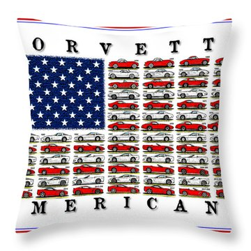 Corvette Americana Throw Pillow