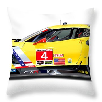 Corvette C7.r Lm Illustration Throw Pillow