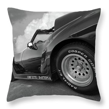 Corvette Daytona In Black And White Throw Pillow by Gill Billington