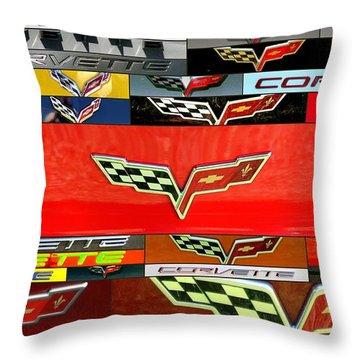 Corvette Emblems Throw Pillow