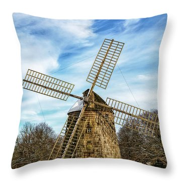 Throw Pillow featuring the photograph Corwith Windmill Long Island Ny Cii by Susan Candelario