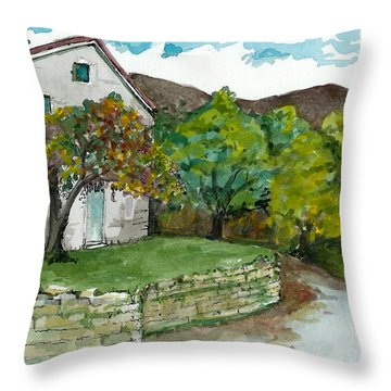 Throw Pillow featuring the painting Cosica Italy by Lynn Babineau