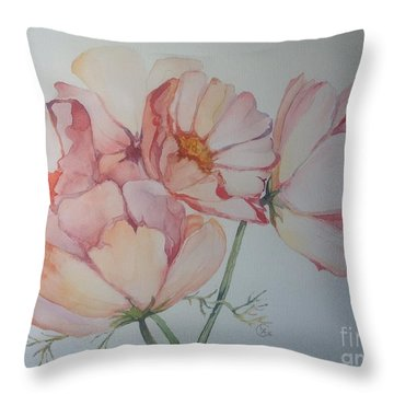 Cosmea Throw Pillow by Iya Carson