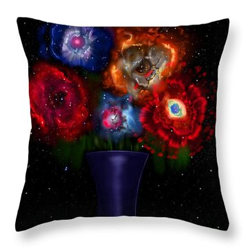 Cosmic Bouquet Throw Pillow