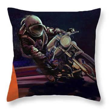 Cosmic Cafe Racer Throw Pillow