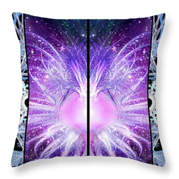 Throw Pillow featuring the mixed media Cosmic Collage Mosaic Left Mirrored by Shawn Dall