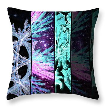 Throw Pillow featuring the mixed media Cosmic Collage Mosaic Left Side Flipped by Shawn Dall