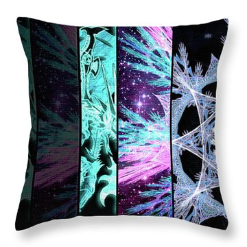 Throw Pillow featuring the mixed media Cosmic Collage Mosaic Left Side by Shawn Dall
