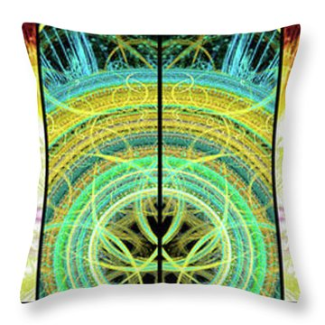 Throw Pillow featuring the mixed media Cosmic Collage Mosaic Right Side Mirrored by Shawn Dall