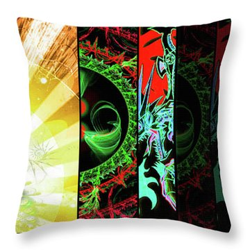 Throw Pillow featuring the mixed media Cosmic Collage Mosaic Right Side by Shawn Dall