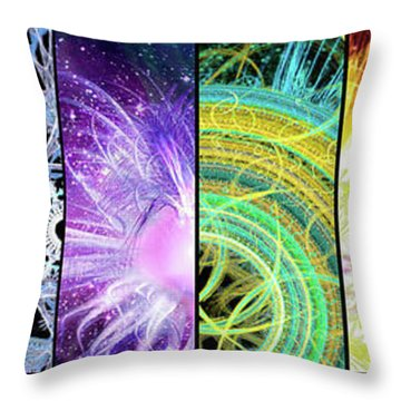 Throw Pillow featuring the mixed media Cosmic Collage Mosaic by Shawn Dall