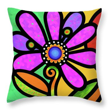 Cosmic Daisy In Pink Throw Pillow