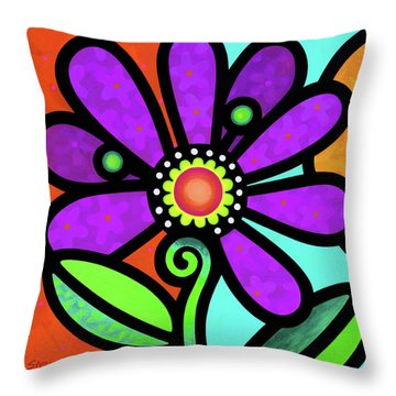 Cosmic Daisy In Purple Throw Pillow