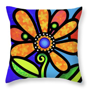 Cosmic Daisy In Yellow Throw Pillow