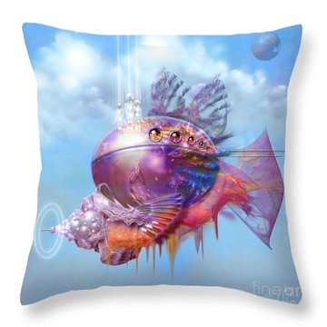 Cosmic Fish Spaceship Throw Pillow