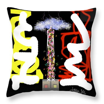 Cosmic Geisha - Angry Mountain Messenger Throw Pillow