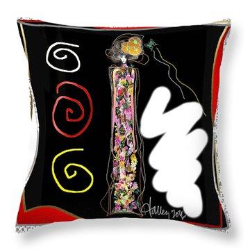 Cosmic Geisha - Trapped In Computational Graffiti  Throw Pillow