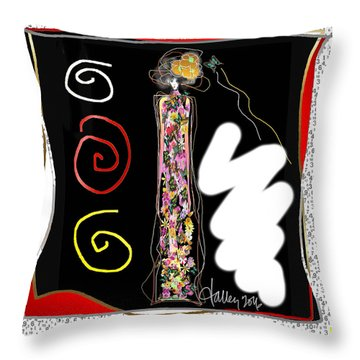 Cosmic Geisha - Trapped In Computational Graffiti  Throw Pillow