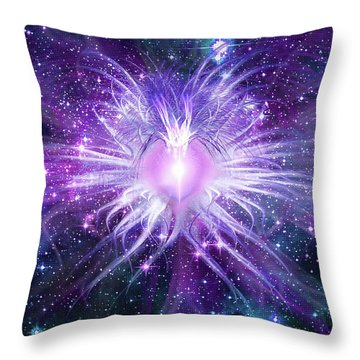 Throw Pillow featuring the mixed media Cosmic Heart Of The Universe Mosaic by Shawn Dall